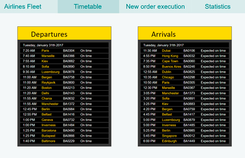 The Arrivals and Departures boards displaying the timetable