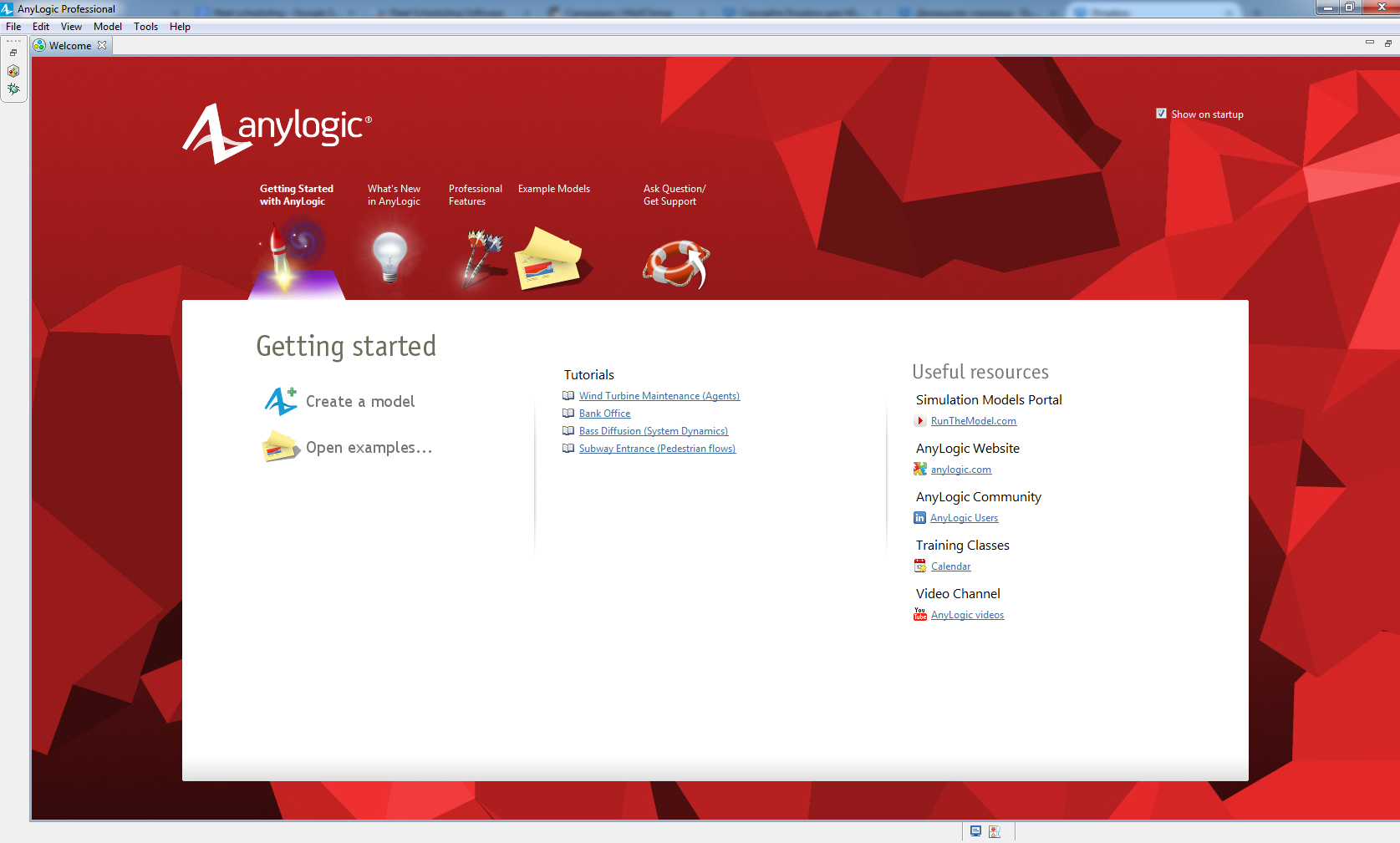 AnyLogic Welcome Screen
