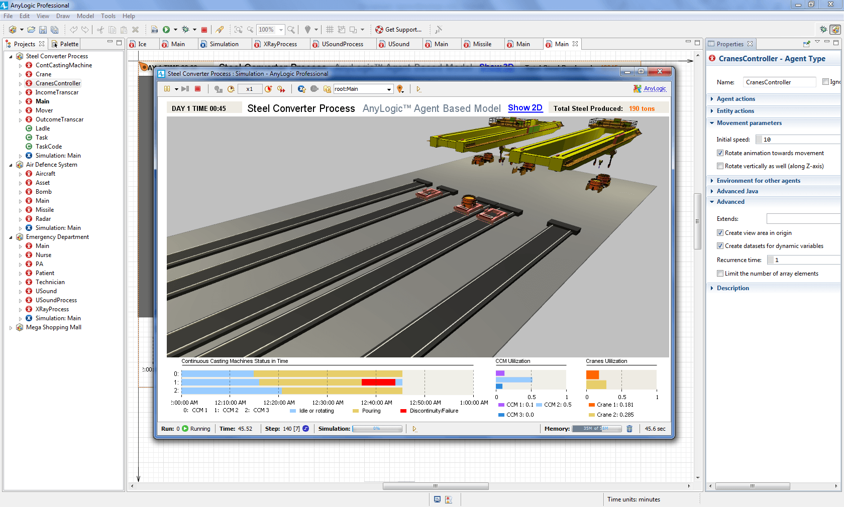 Steel Converter Simulation Model